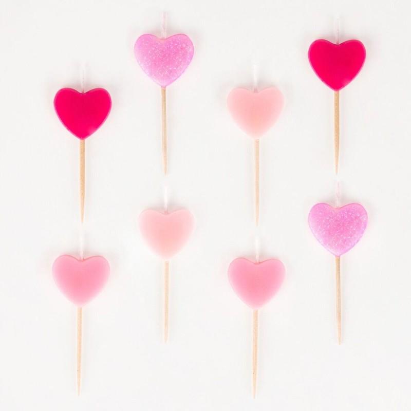 My Little Day - 8 Kerzen Pinke Herzen
