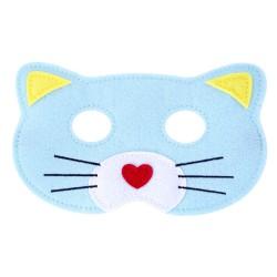 Maske Katze aus Filz in blau