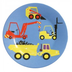 Melamin Teller blau LE CHANTIER - Baufahrzeug, 20 cm