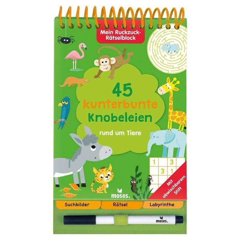 Mein Ruckzuck-Rätselblock - 45 kunterbunte Knobeleien rund um Tiere