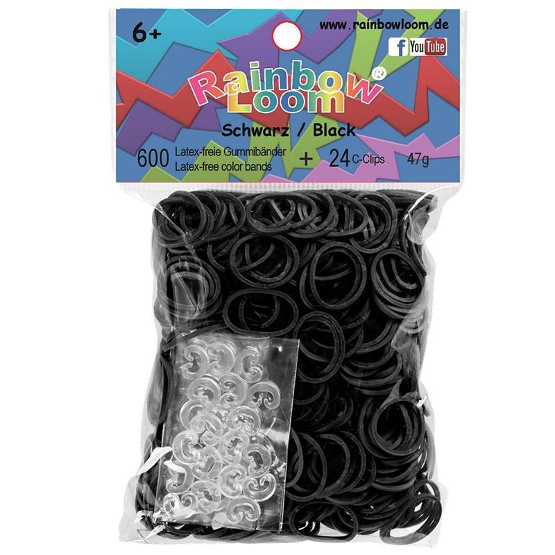Rainbow Loom® Gummibänder schwarz opaque
