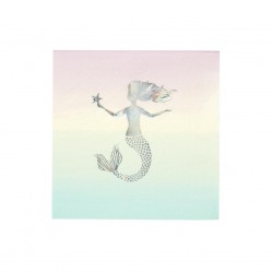 Servietten Meerjungfrau Pastel - We Heart Mermaids, 16 Stück