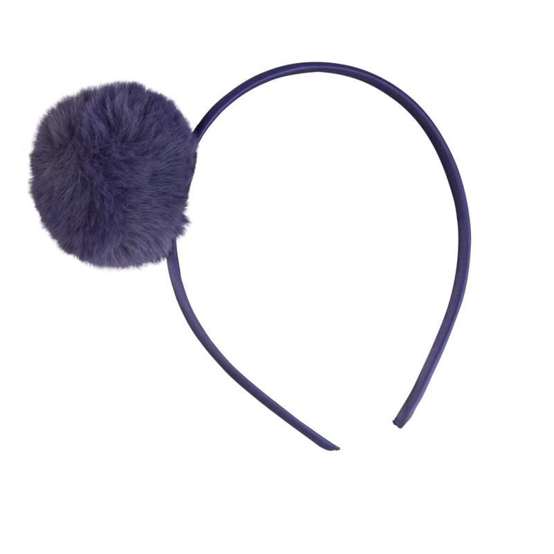 Haarreif mit Pompom in blau
