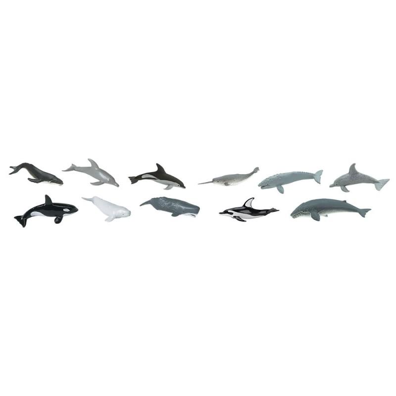 Wale und Delfine - Set mit 12 kleinen handbemalten Figuren