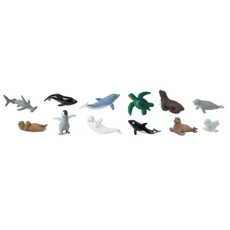 Babyseetiere - Set mit 12 kleinen handbemalten Figuren