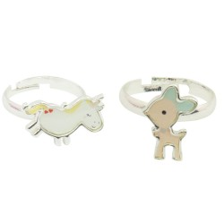 Kinder Ring Set Fairy Animals - Reh und Einhorn