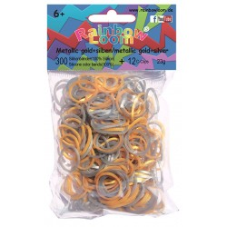 Rainbow Loom® Silikonbänder metallic gold + silber