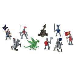 Ritter & Drachen - Set mit 11 kleinen handbemalten Figuren