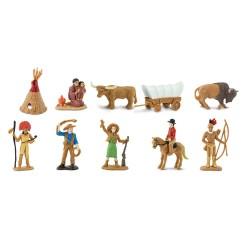 Wild West - Leben im Wilden Westen - Set mit 12 kleinen handbemalten Figuren