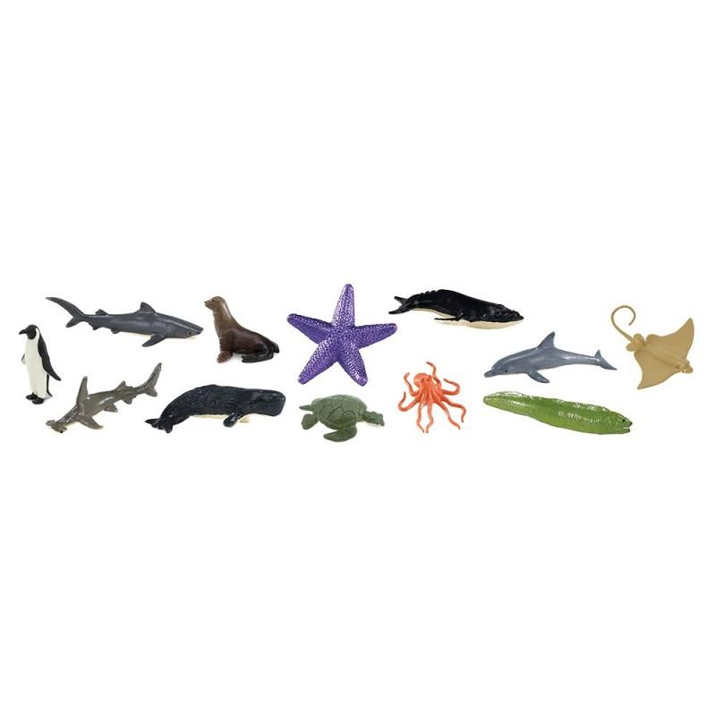 Meerestiere - Set mit 12 kleinen handbemalten Figuren