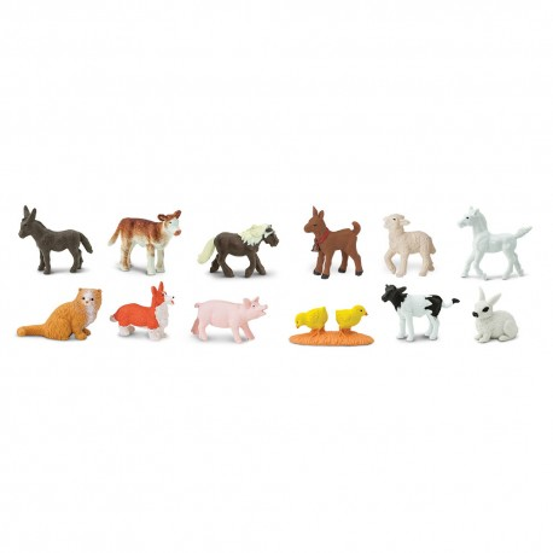 Bauernhof Tierkinder - Set mit 12 kleinen handbemalten Figuren