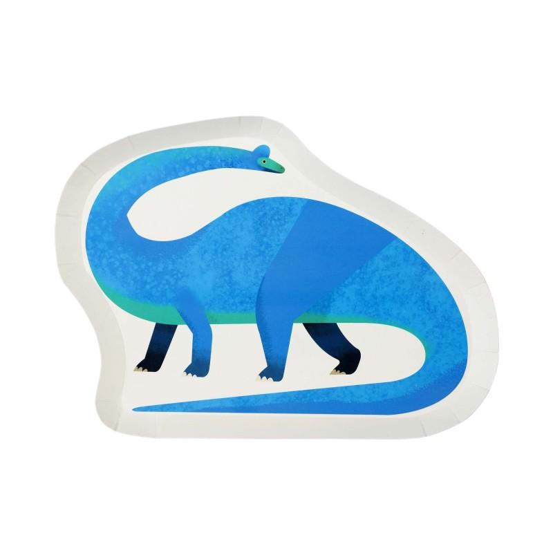 Pappteller in Dinosaurier-Form - Party Dinosaurier, 12 Stück