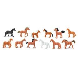 Pferde - Set mit 12 handbemalten Mini-Figuren