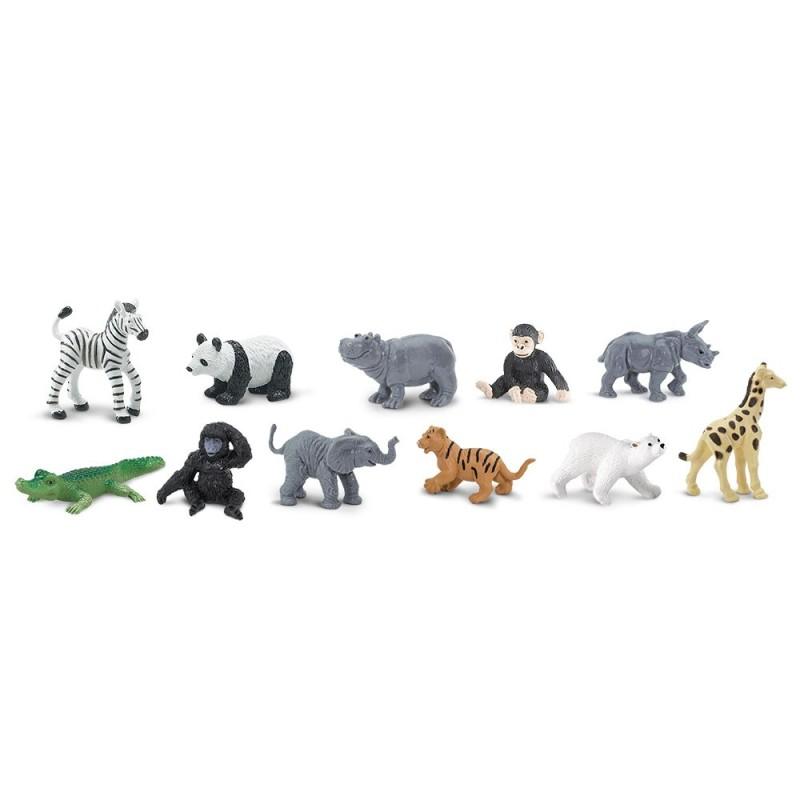 Zootiere Babys - Set mit 11 kleinen handbemalten Figuren