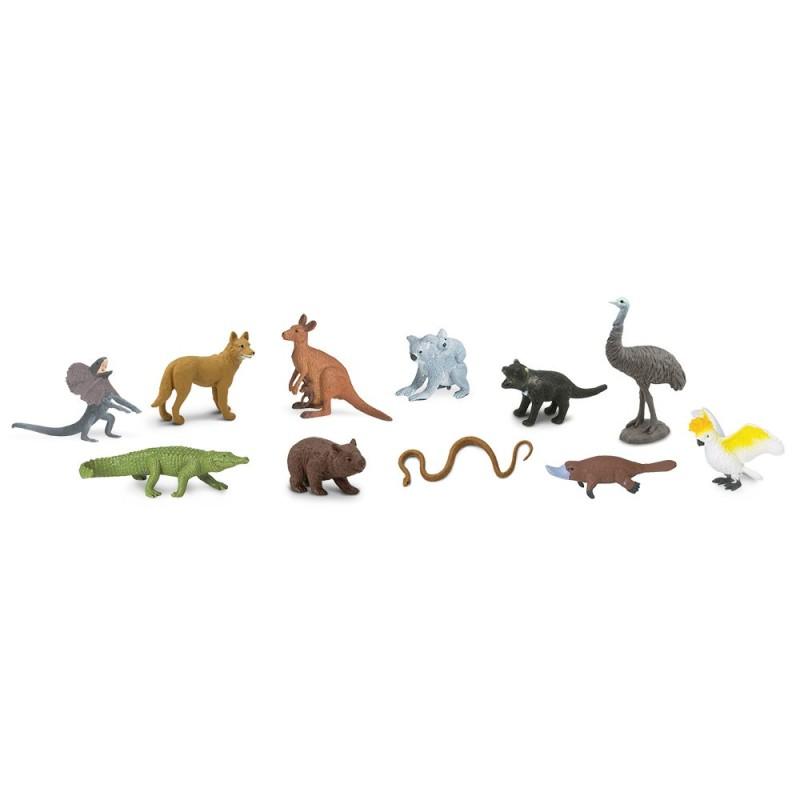 Tiere Australiens - Set mit 12 handbemalten Mini-Figuren