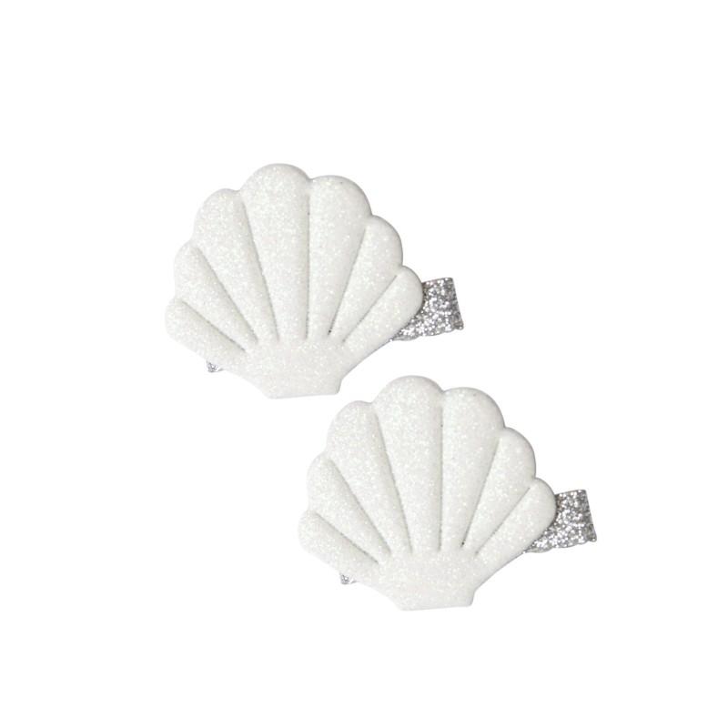 Haarspangen Shells - Muscheln in weiss