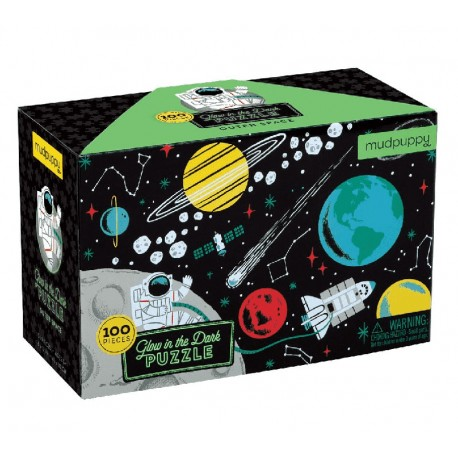 Glow in the Dark Puzzle Outer Space - Weltraum & Astronaut mit 100 Teilen