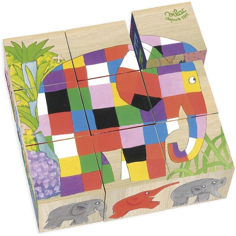Würfelpuzzle Elmar aus Holz