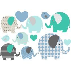 Wasserfeste Sticker Elefanten in blau von Jabalou