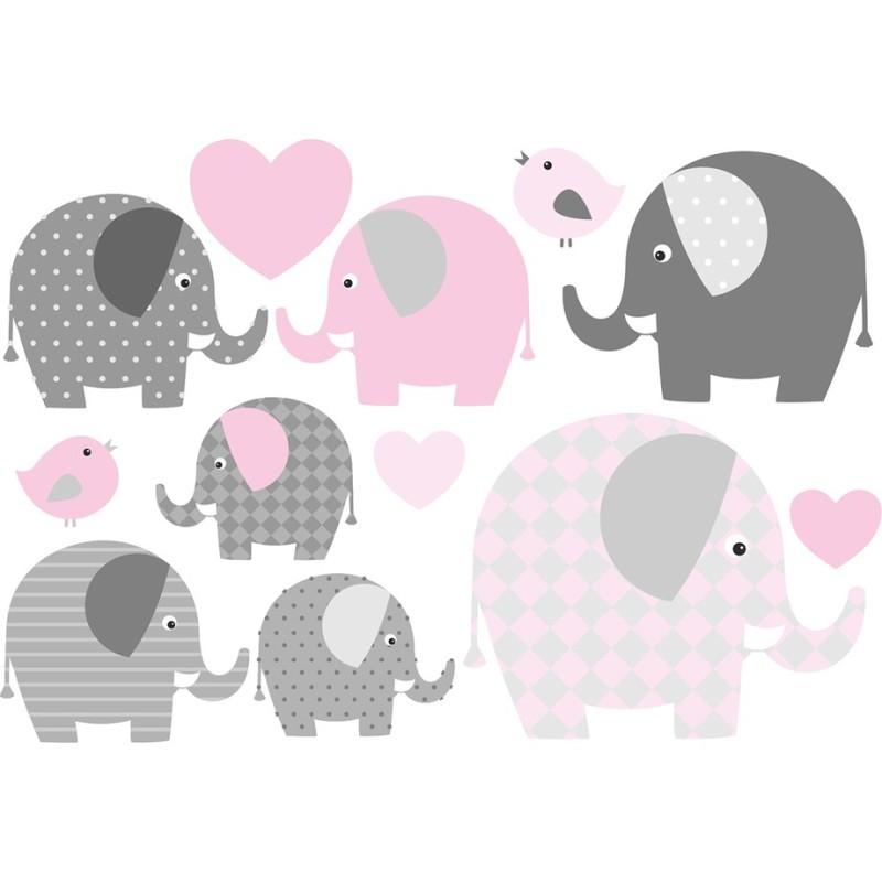 Wasserfeste Sticker Elefanten in rosa und grau von Jabalou