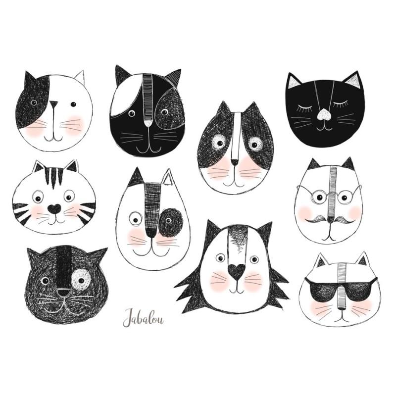 Wasserfeste Sticker Katzenköpfe von Jabalou