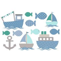 Wasserfeste Sticker Schiffe und Fische in blau und grau von Jabalou
