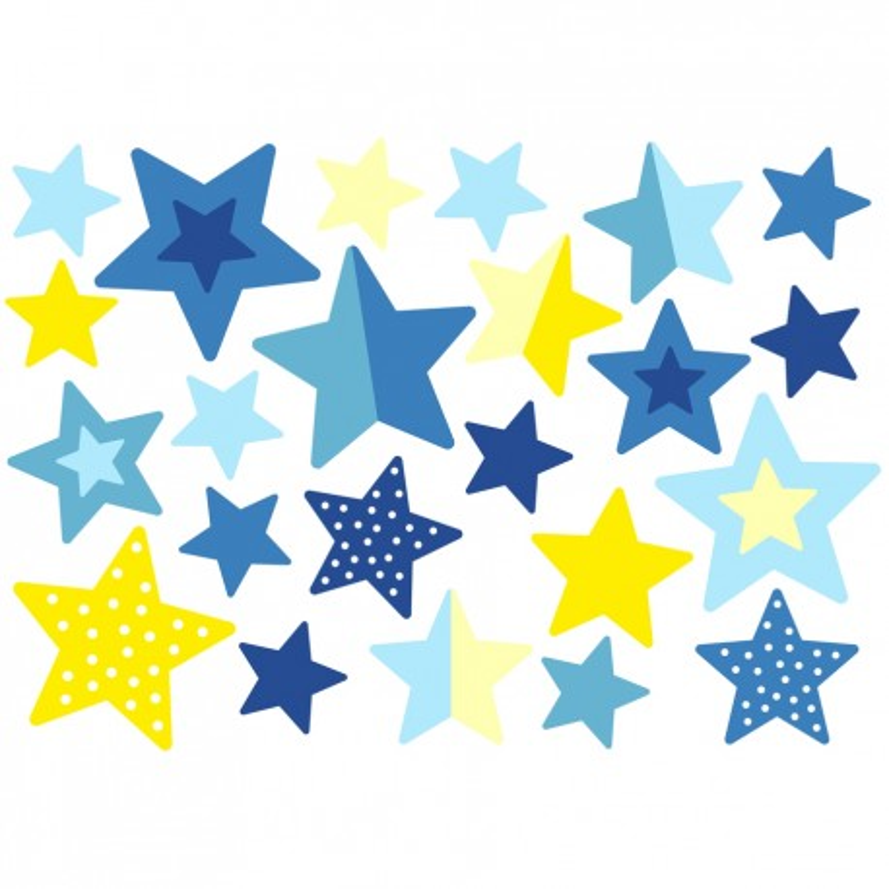 Wasserfeste Sticker Sterne in blau und gelb  von Jabalou