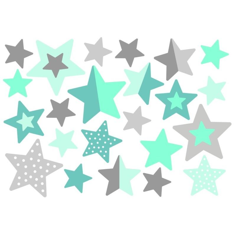 Wasserfeste Sticker Sterne in mint und grau von Jabalou