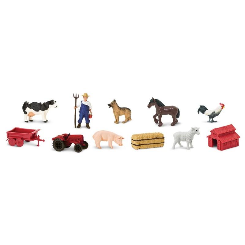 Leben auf dem Bauernhof - Set mit 11 kleinen handbemalten Figuren