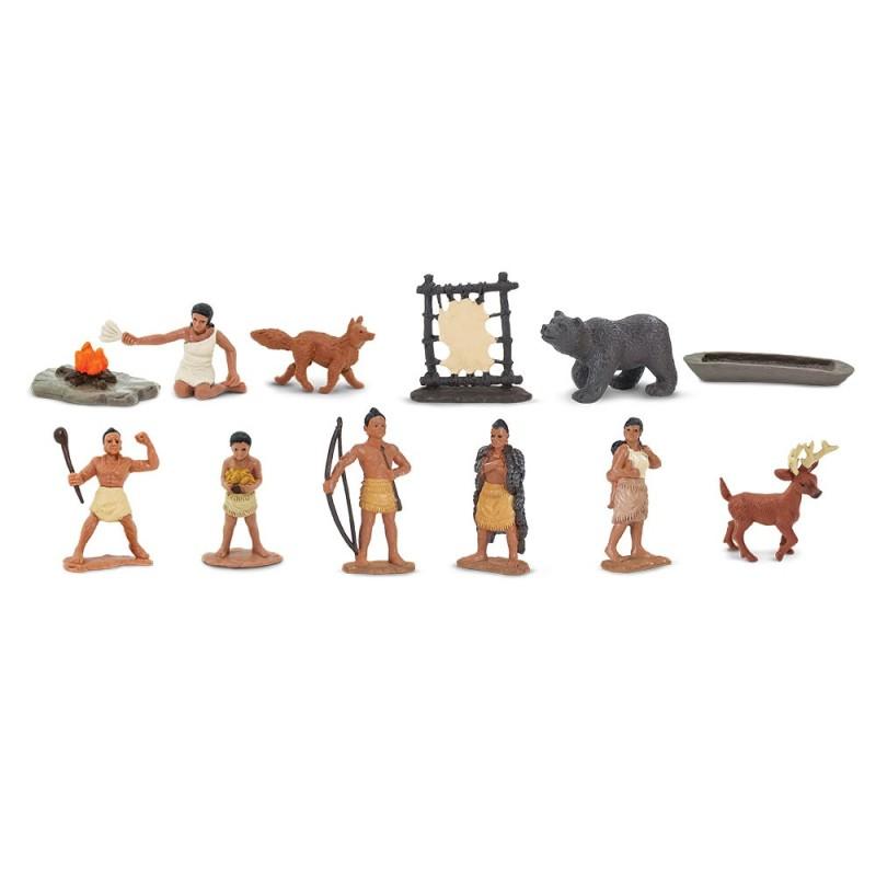 Powhatan Indianer - Set mit 12 kleinen handbemalten Figuren
