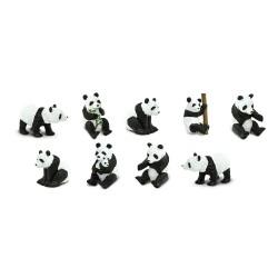 Pandabären - Set mit 9 kleinen handbemalten Panda Figuren