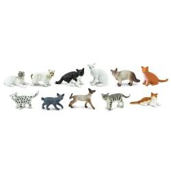 Hauskatzen - Set mit 11 handbemalten Figuren