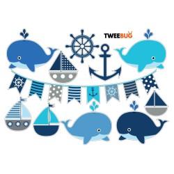 Wasserfeste Sticker Wal & Meer von Tweebug