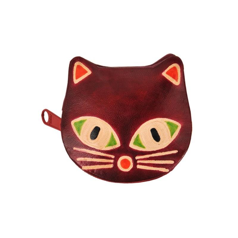 Lederbörse Katze