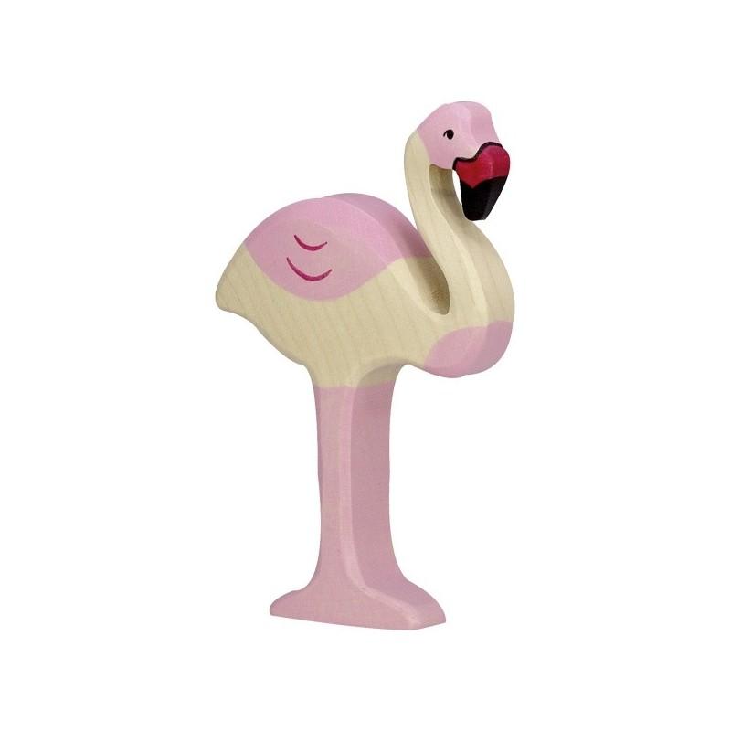 Holztiger Holzfigur Flamingo