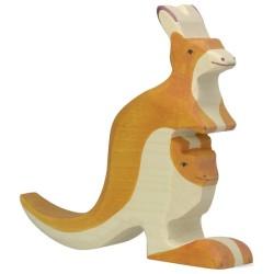 Holztiger Holzfigur Känguruh mit Jungem