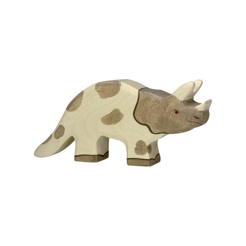 Holztiger Holzfigur Dinosaurier Triceratops