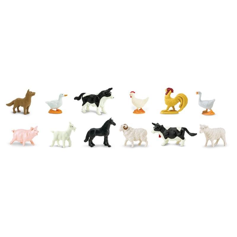 Bauernhof Tiere - Set mit 12 kleinen handbemalten Figuren