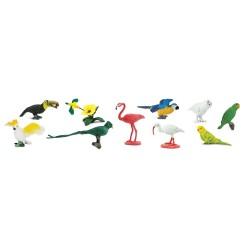 Exotische Vögel - Set mit 11 kleinen handbemalten Figuren