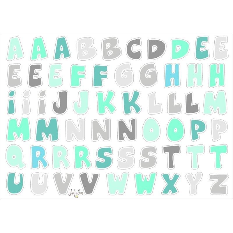 Wasserfeste Sticker ABC in mint-grau von Jabalou