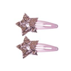 Haarspangen Shiny Stars mit pinkem Stern, 2er Set