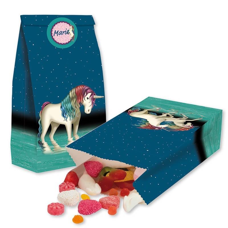 Party Einhorn Lunabelle Treat bags - Papierbeutel mit Stickern für Mitgebsel