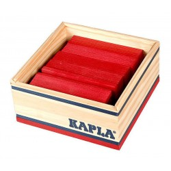 Kapla Baukasten mit 40 roten Holzplättchen