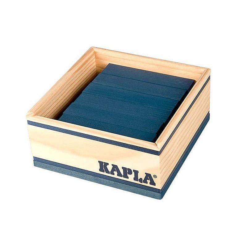 Kapla Baukasten mit 40 dunkelblauen Holzplättchen