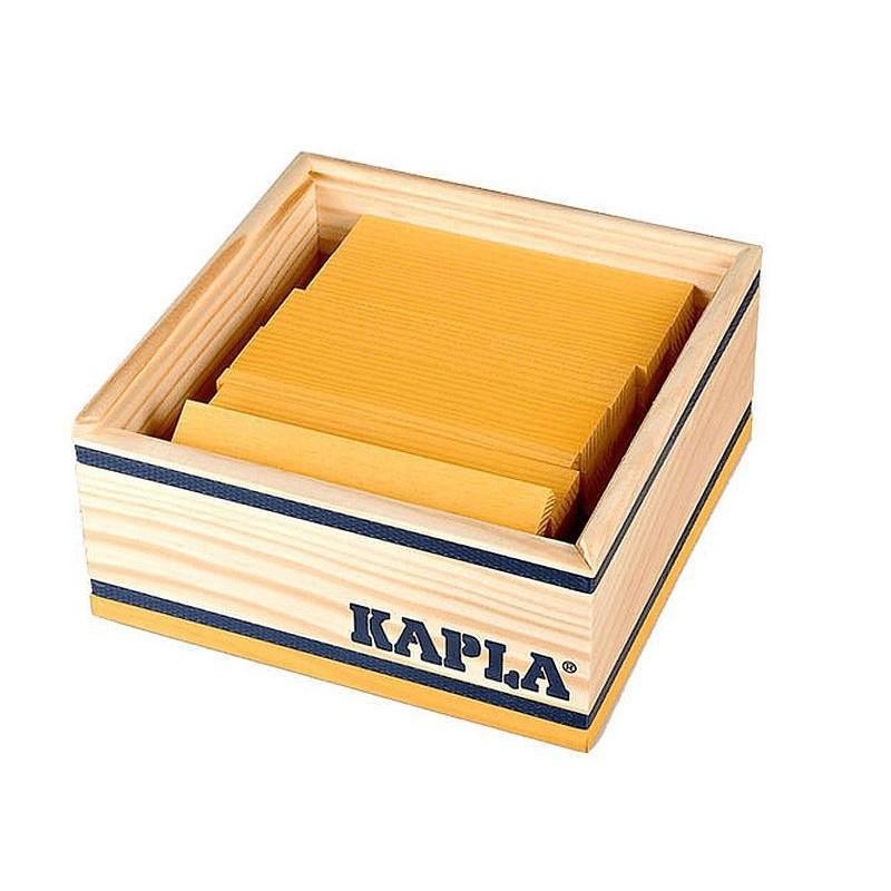 Kapla Baukasten mit 40 gelben Holzplättchen