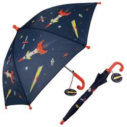 Kinder Regenschirm Space Age Weltall in blau