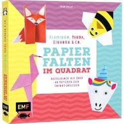 Bastel-Kids - Papierfalten im Quadrat Flamingo, Panda, Einhorn und Co.