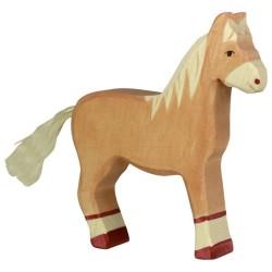 Holztiger Holzfigur Pferd hellbraun