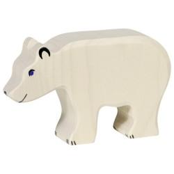 Holztiger Holzfigur Eisbär weiss