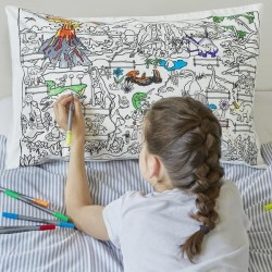 Dinosaurier Kissenbezug zum Ausmalen, inkl. auswaschbare Stifte
